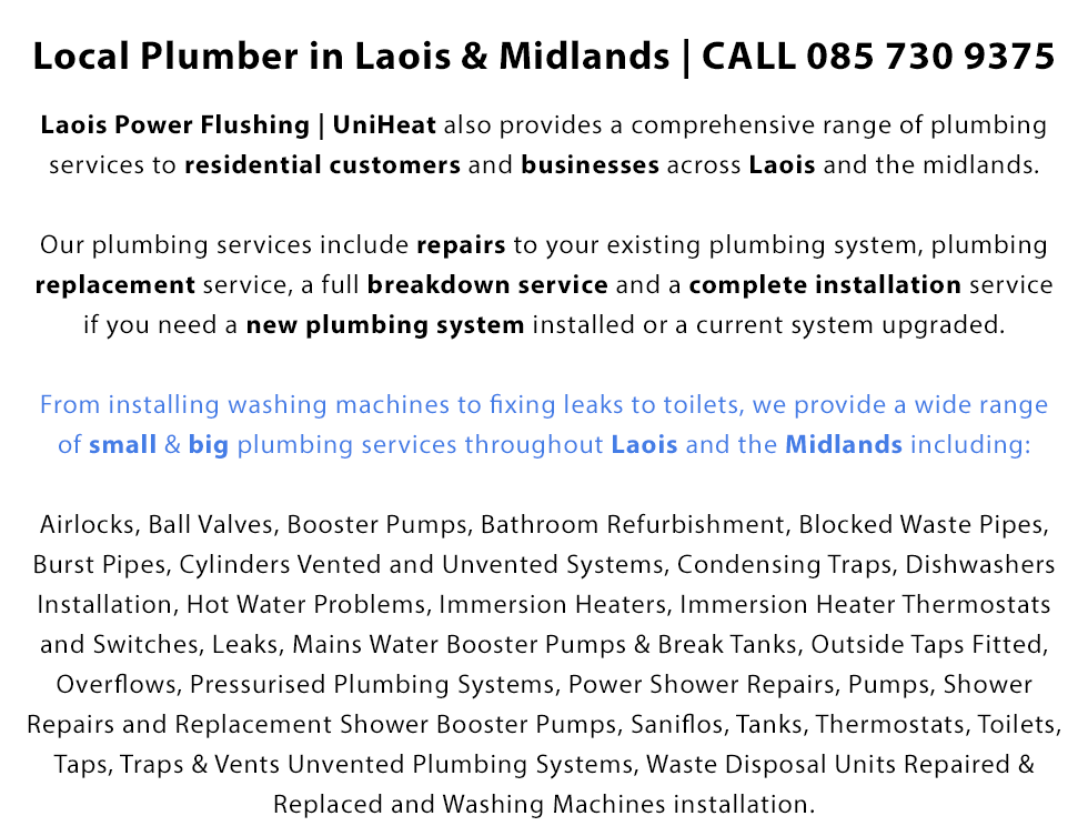 Local Plumber in Laois & Midlands | CALL 085 730 9375 | 